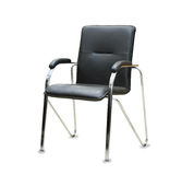 The office chair from black leather. Royalty Free Stock Photo