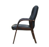 Office chair from black leather. Isolated Royalty Free Stock Images