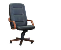 Office chair from black leather. Isolated Stock Image