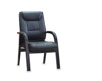 Office chair from black leather. Isolated Royalty Free Stock Photography