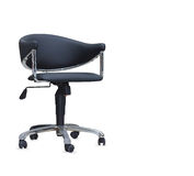 The office chair from black leather. Isolated Stock Image