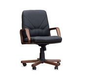The office chair from black leather. Isolated Royalty Free Stock Images