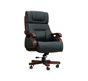 The office chair from black leather. Isolated Royalty Free Stock Image
