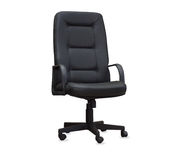 The office chair from black leather. Isolated Royalty Free Stock Photos