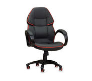 The office chair from black leather. Isolated Stock Photos