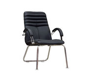 The office chair from black leather. Isolated Stock Photography