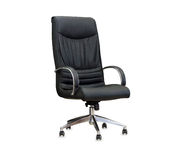 The office chair from black leather. Isolated Stock Images