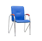 Office chair from blue leather. Isolated Stock Photos