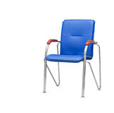 The office chair from blue leather. Isolated Stock Photos