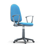 Office chair with a blue trim on a white background Stock Images