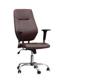 The office chair from brown leather. Isolated Royalty Free Stock Photo
