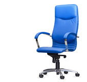 The office chair from bue leather. Isolated Royalty Free Stock Photography