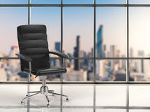 Office chair with cityscape background. 3d rendering office chair with cityscape background Royalty Free Stock Photo