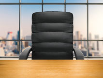 Office chair with cityscape background. 3d rendering office chair with cityscape background Stock Photos