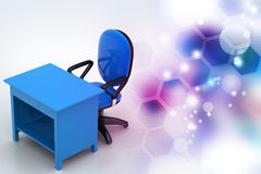Office chair and computer table Stock Photo