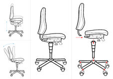 Office Chair drawing. A technical drawing of an office chair layered so it can be used for instructions/ demonstration pyrposes Royalty Free Stock Images