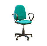 Office chair from green cloth isolated over white Royalty Free Stock Images