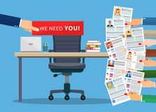 Office chair . Hiring and recruiting. Office chair and cardboard paper with we need you message in hand of boss. Human resources management concept, searching Stock Photography
