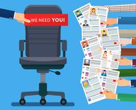 Office chair . Hiring and recruiting. Office chair and cardboard paper with we need you message in hand of boss. Human resources management concept, searching Stock Photo