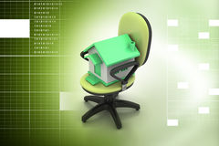 Office chair with home model Stock Images