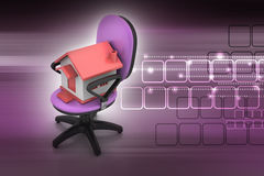 Office chair with home model Royalty Free Stock Image