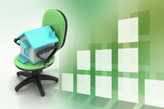 Office chair with home model Stock Photos