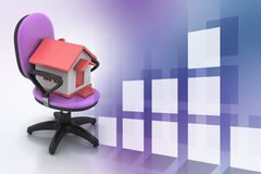 Office chair with home model Stock Photography