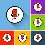 Office chair icons with long shadow Royalty Free Stock Image