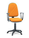 Office chair with orange upholstery on a white background Royalty Free Stock Photography