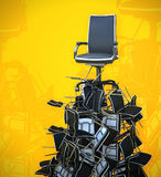 Office chair on pyramid from chairs Stock Photography