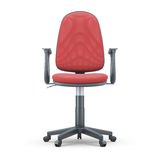 Office chair with red upholstery on a white background. 3d illustration Royalty Free Stock Photography