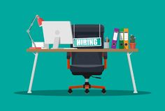 Office chair, sign vacancy, box with office itmes. Office chair, sign vacancy. Table with office items. Hiring and recruiting. Human resources management concept royalty free illustration