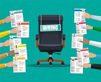 Office chair and sign vacancy in hand of boss. Office chair and sign vacancy. Hiring and recruiting. Human resources management concept, searching professional Royalty Free Stock Photos