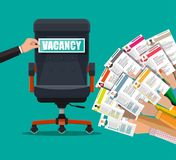 Office chair and sign vacancy in hand of boss. Hiring and recruiting. Human resources management concept, searching professional staff, work. Found right Royalty Free Stock Images
