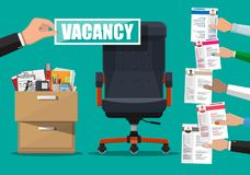 Office chair and sign vacancy in hand of boss. Hiring and recruiting. Human resources management concept, searching professional staff, work. Found right Royalty Free Stock Photo