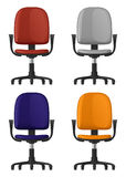 Office chair spinning, on wheels, with backrest and armrests, four color options, front view Stock Photos