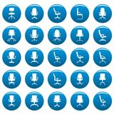 Office chair vector icons set blue, simple style. Office chair icons set blue. Simple illustration of 25 office chair vector icons for web Stock Photo