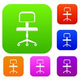 Office a chair with wheels set color collection Royalty Free Stock Photo