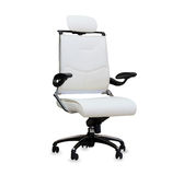 The office chair from white leather. Stock Photos