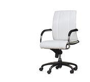 Office chair from white leather. Isolated Royalty Free Stock Image