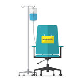 Office chair for workaholic employee with saline bag. Flat design. Royalty Free Stock Photos