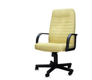 The office chair from yellow leather. Isolated Royalty Free Stock Images