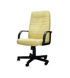 The office chair from yellow leather. Isolated Stock Photography