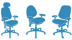 Office chairs. Three blue Office chairs on the white Stock Photo