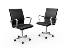 Office Chairs. Two black leather boss chairs for office, isolated on white background Royalty Free Stock Image