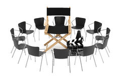 Office Chairs Around Cinema Director Chair, Movie Clapper and Me. Gaphone on a white background. 3d Rendering Royalty Free Stock Photo