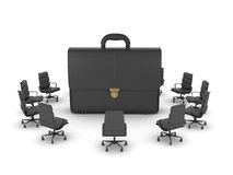 Office chairs around leather briefcase Royalty Free Stock Images