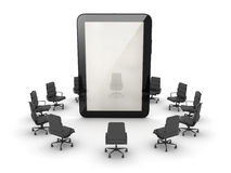Office chairs around the tablet computer Stock Image