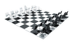 Office chairs on chess board Royalty Free Stock Photo