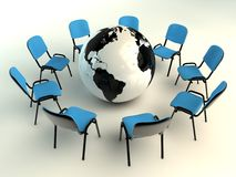 Office chairs in circle and planet earth Royalty Free Stock Photography
